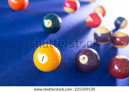 billiard ball on blue table