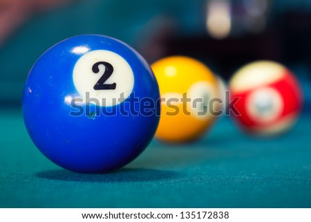 Billiard balls/A Vintage style photo from a billiard balls in a pool table. Noise added for a film effect
