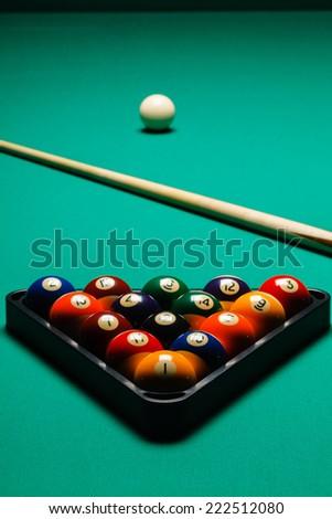 Billiard balls in a pool table. - stock photo
