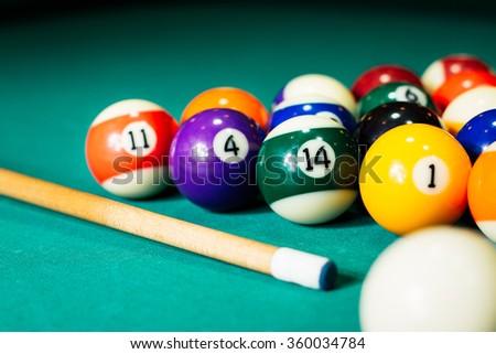Billiard balls in a pool table - stock photo