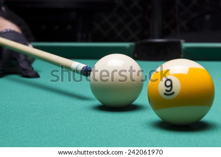 Billiard balls in a pool table. focus on the white ball - stock photo