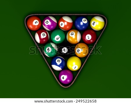 Billiard balls in rack on green table - stock photo