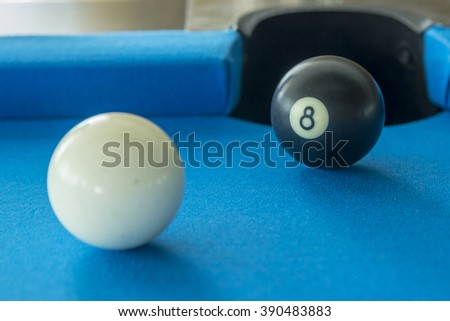 Billiard balls in the pool table