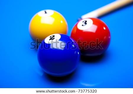 Billiard balls isolate on blue - stock photo