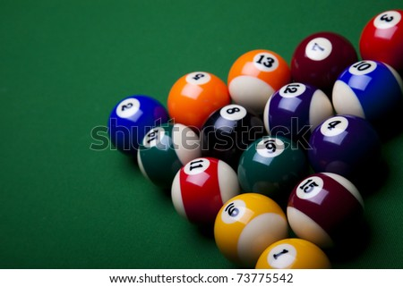 Billiard balls isolate on green