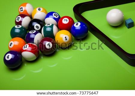 Billiard balls isolate on green - stock photo