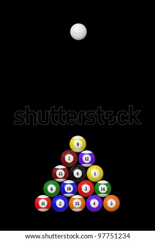 Billiard balls isolated on black background - stock photo