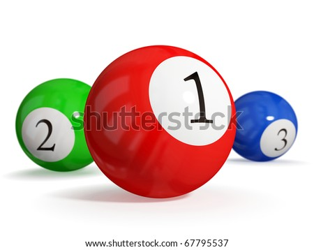 Billiard balls. Leadership concept. isolated on white background.3d rendered. - stock photo