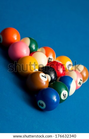 Billiard Balls On Blue Cloth