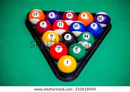 Billiard balls on green table, Snooker, Pool game. - stock photo
