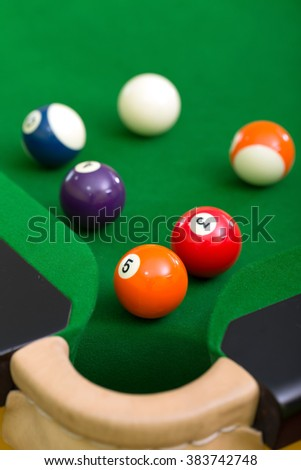 Billiard balls on the snooker table.