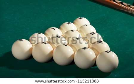 billiard balls on the table - stock photo