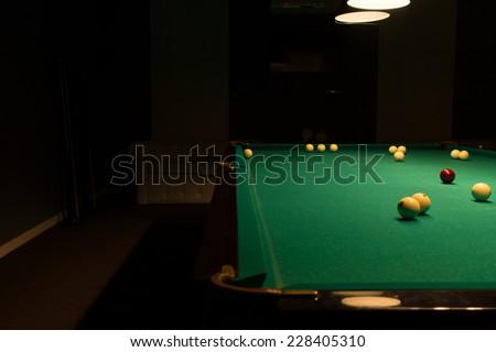 Pool Table Balls Scattered Billiard Stock ...