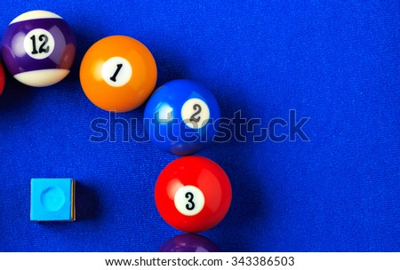 Billiard balls with blue chalk on a blue pool table. Horizontal image viewed from above.