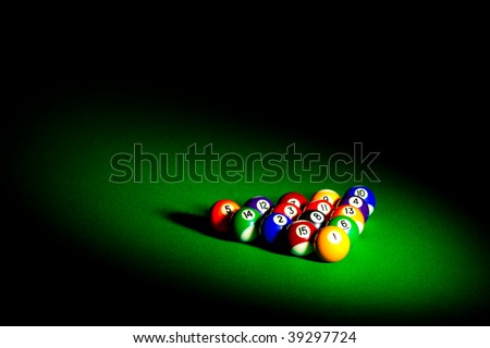 billiard balls with copy space... - stock photo