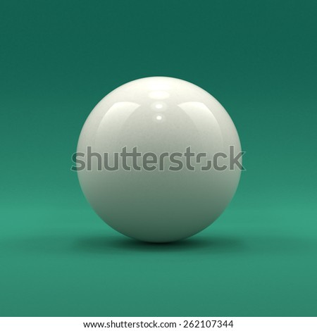 Billiard cue ball solid white color on green table background - stock photo