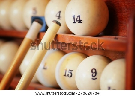 billiard cue balls by - stock photo