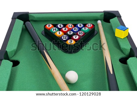 Billiard game & Pool stick  composition.Isolated on white - stock photo
