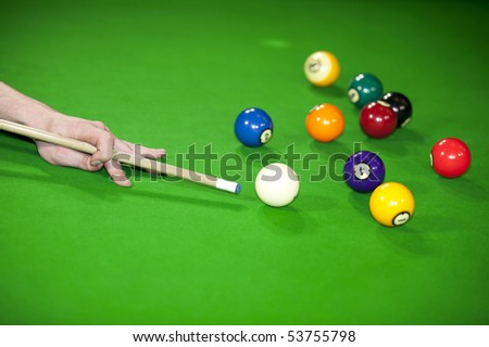 billiard game situation - stock photo