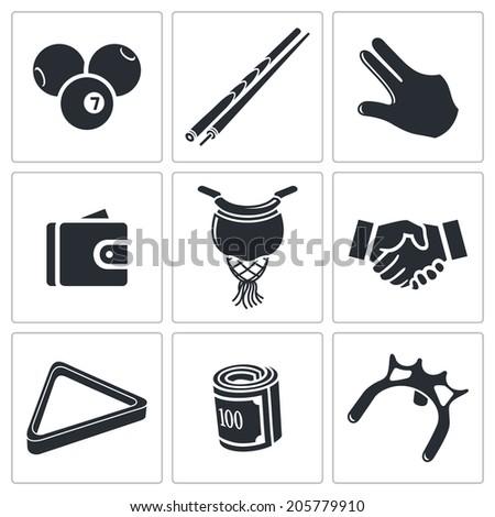 Billiard icons set  - stock photo