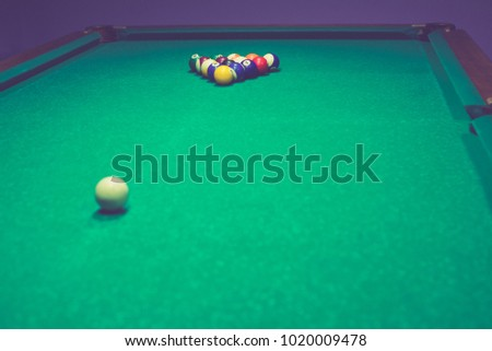 Billiard layers are set up by the pyramid on a billiard table & Billiard Pool On Background Billiard Table Stock Photo 763374097 ...