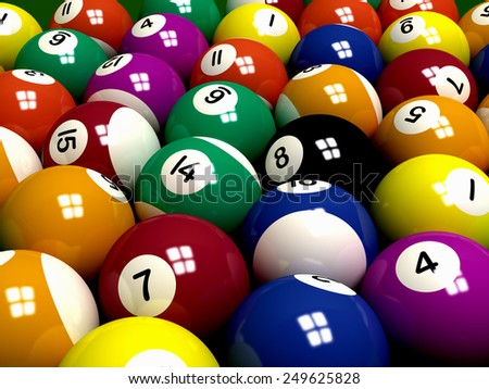Billiard (Pool) balls background - stock photo
