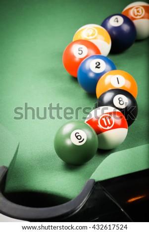 billiard. pool game - stock photo