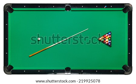 Billiard table, top view isolated white background. Path included - stock photo