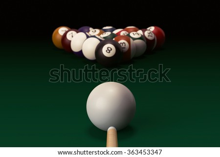 Billiard table with balls set and cue on a black background