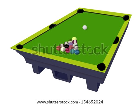 Billiard table with billiard balls. - stock photo