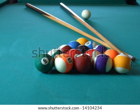 billiard table with billiard's balls, game