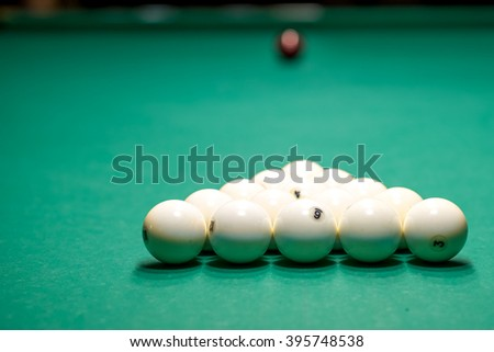 Billiard white balls in a pool table. - stock photo