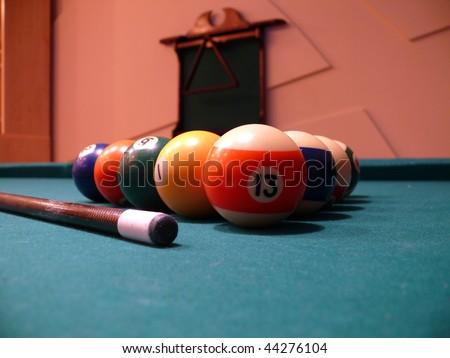 billiards balls in the table - stock photo