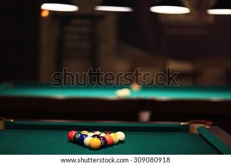 billiards, billiard balls on the table - stock photo