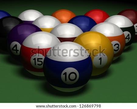billiards on green table - stock photo