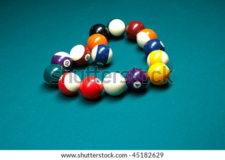 Billiards pool heart - stock photo
