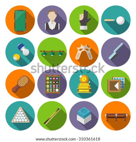 Billiards snooker pool game competition icons flat set isolated  illustration - stock photo