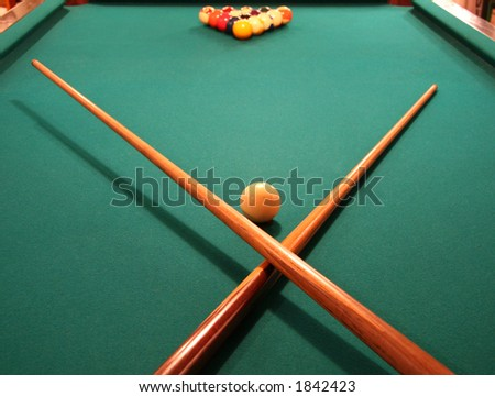 Billiards Table with Racked Balls - stock photo