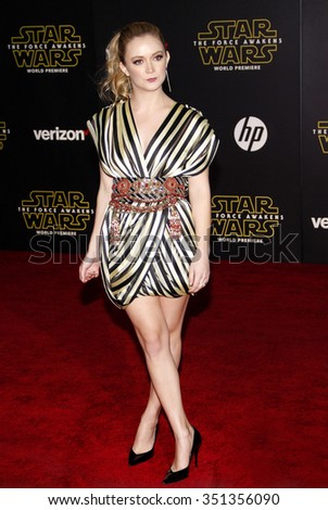 Billie Lourd at the World premiere of 'Star Wars: The Force Awakens' held at the TCL Chinese Theatre in Hollywood, USA on December 14, 2015. - stock photo