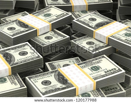 Billion Dollars Background (Computer generated high resolution image) - stock photo