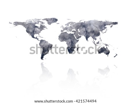 World map art modern watercolor world stock illustration 348725198 billowing black smoke from ignition midden on the world map global warming concept elements of gumiabroncs Choice Image