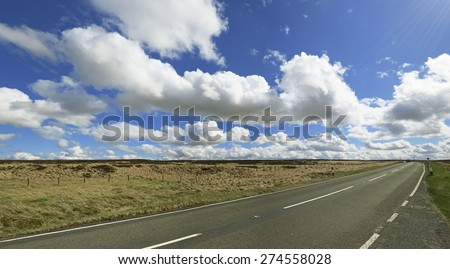 Billowing clouds over Soyland Moor, West Yorkshire, England, UK - stock photo