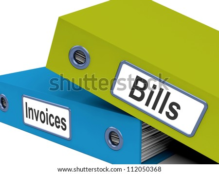 Bills And Invoices Files Showing Accounting And Expenses