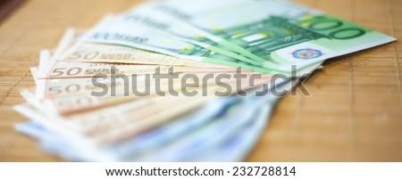 Bills of hundred, fifty an twenty euros - stock photo