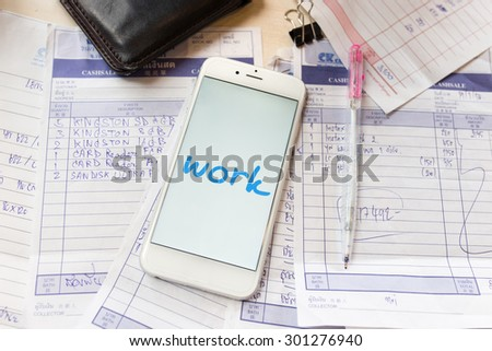 Bills to be paid and a pen in free space - stock photo