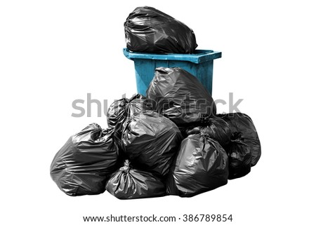bin bag garbage blue isolated on background white - stock photo