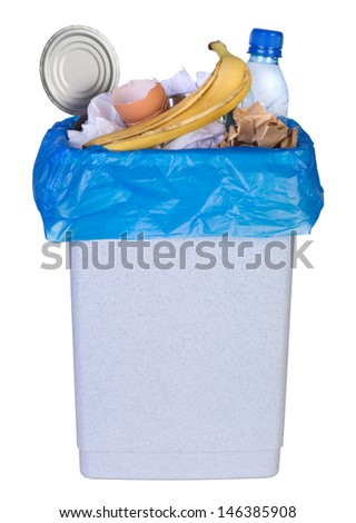 Bin full of rubbish isolated on white background - stock photo