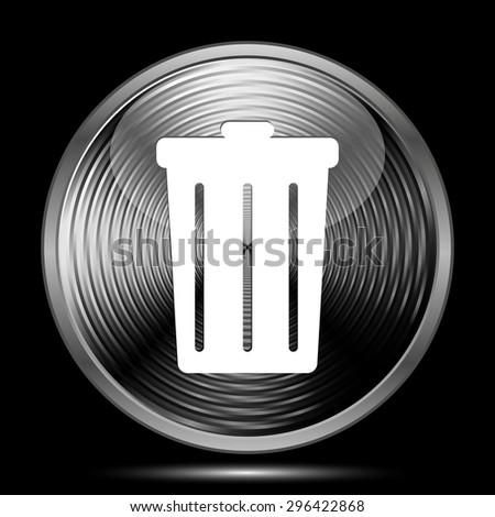 Bin icon. Internet button on black background.  - stock photo