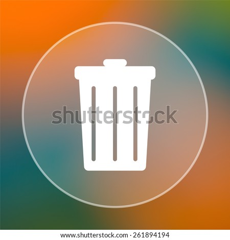 Bin icon. Internet button on colored  background.  - stock photo