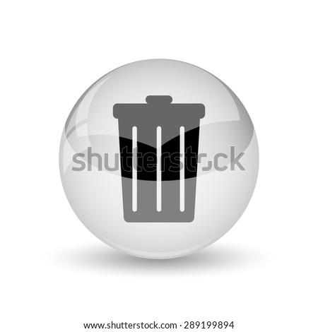 Bin icon. Internet button on white background  - stock photo